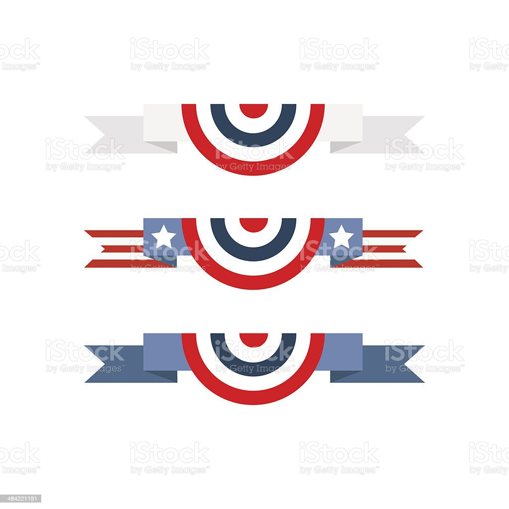 An American flag bunting vector art illustration