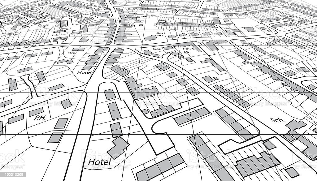 An angled map of a city, showing locations of main buildings vector art illustration