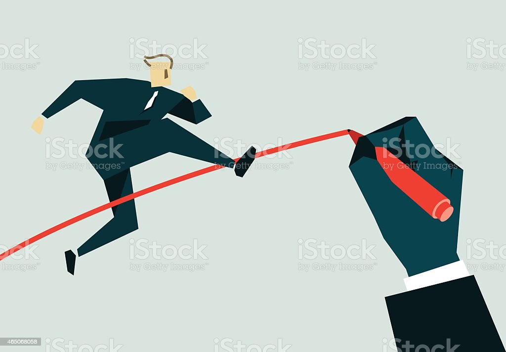 An animated image of a businessman jumping over a line vector art illustration
