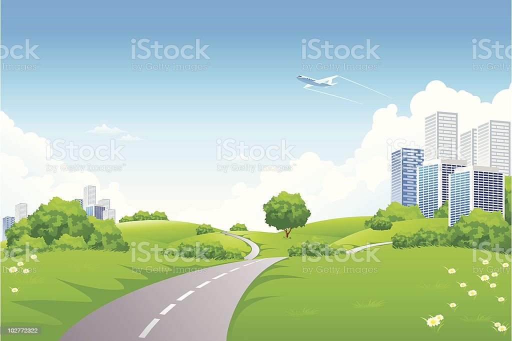 An animated landscape of green hills and trees near a city royalty-free stock vector art