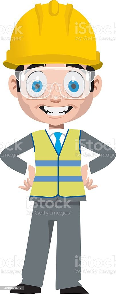 An animated picture of a Contractor smiling  vector art illustration