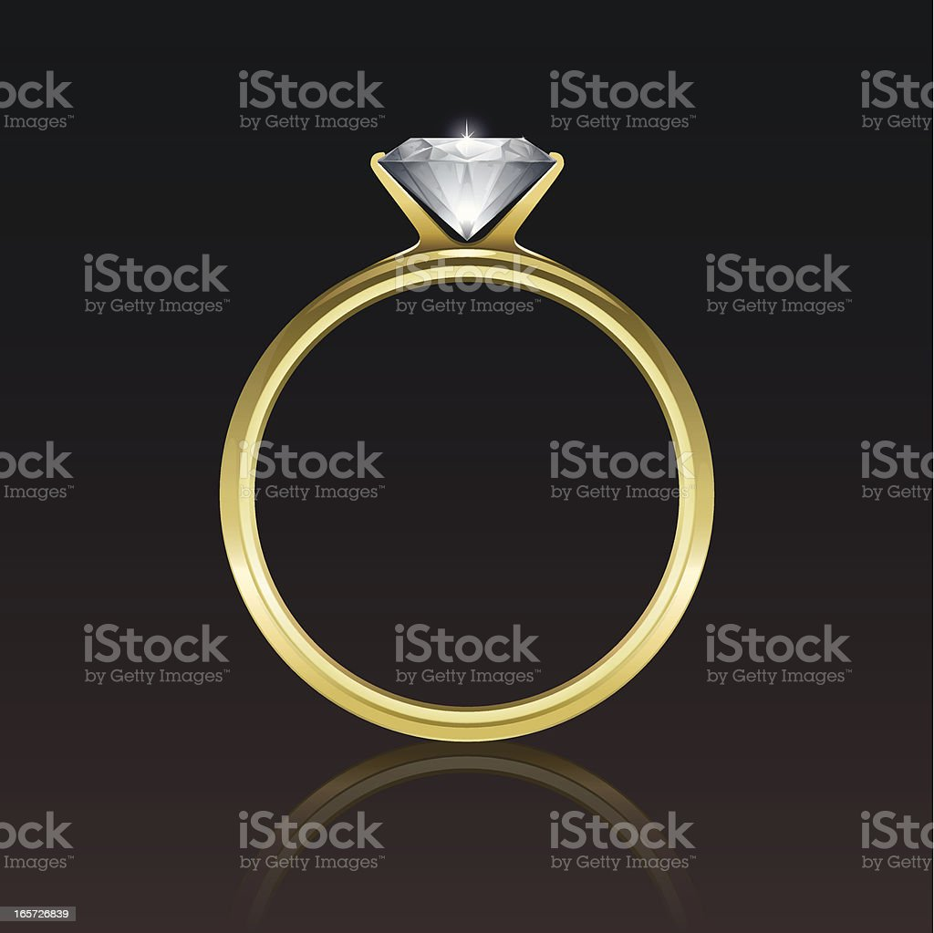 An animated picture of a diamond gold ring vector art illustration