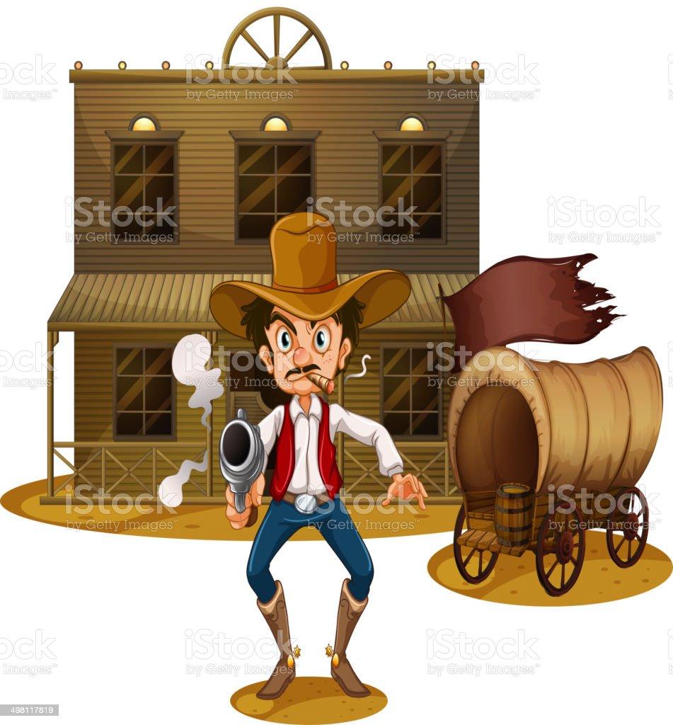 An armed man near the wagon vector art illustration