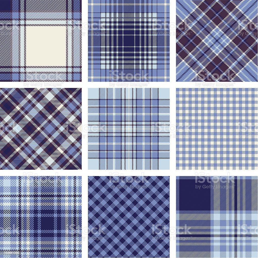 An arrangement of square blue plaid patterns vector art illustration