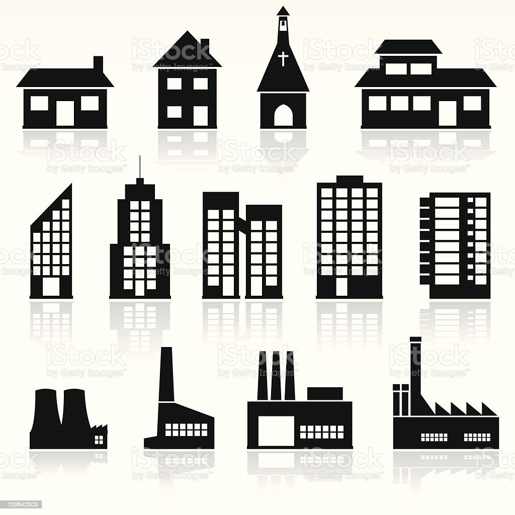 An artistic graphic of various buildings royalty-free stock vector art
