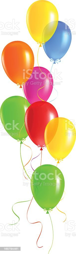 An assortment of bright balloons float up into the sky  vector art illustration