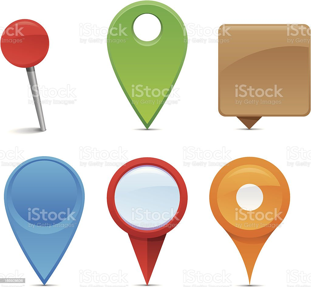 An assortment of colorful navigation pins vector art illustration