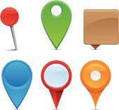 An assortment of colorful navigation pins