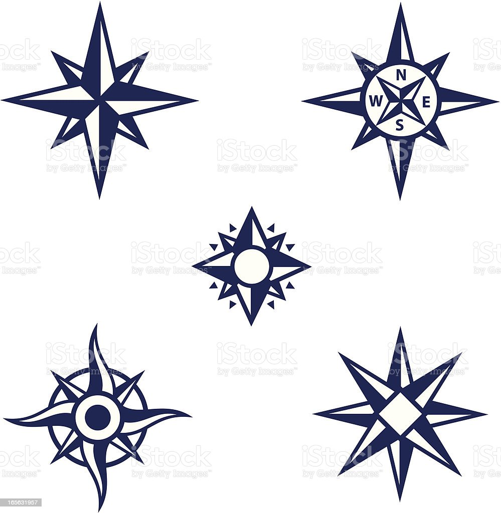 An assortment of dark blue compass symbols vector art illustration