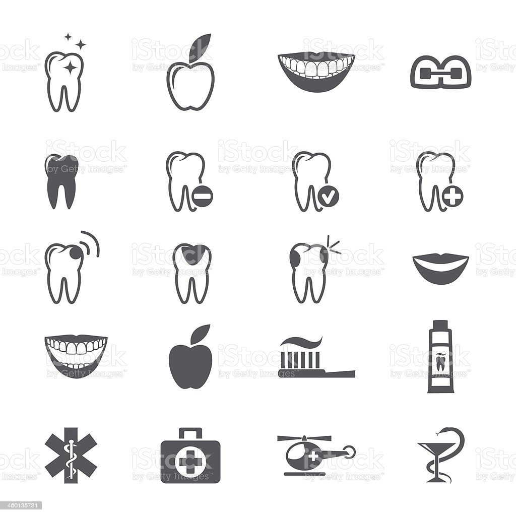 An assortment of dental icons on a white background  vector art illustration