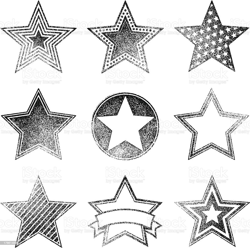 An assortment of different faded star designs vector art illustration