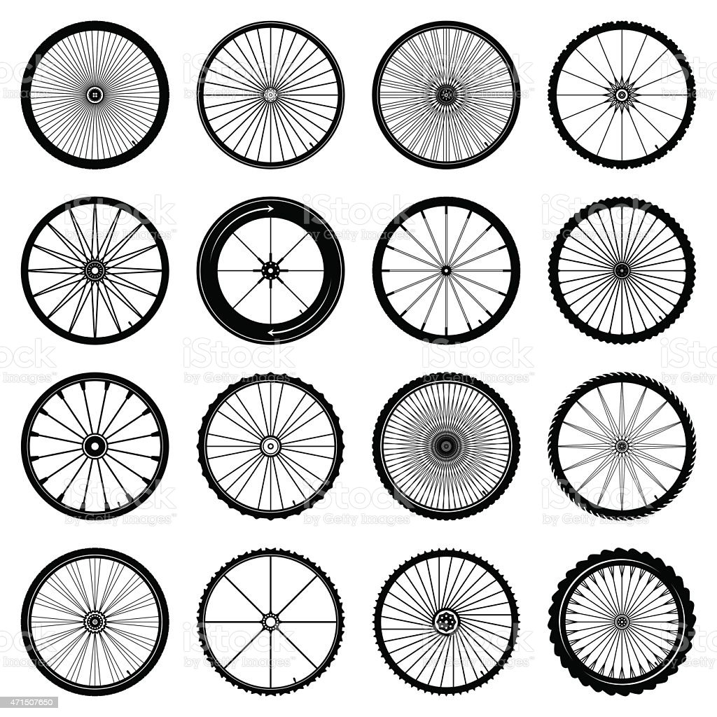 An assortment of illustrated bicycle wheels vector art illustration