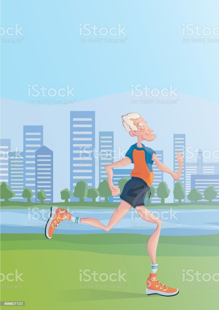 An elderly man practice yoga outdoors, standing on one leg. Active lifestyle and sport activities in old age. Vector illustration. vector art illustration