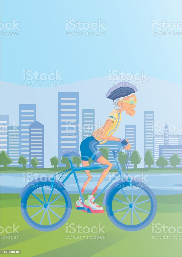 An elderly man riding a Bicycle in a Park on the banks of the river. Active lifestyle and sport activities in old age. Vector illustration. vector art illustration