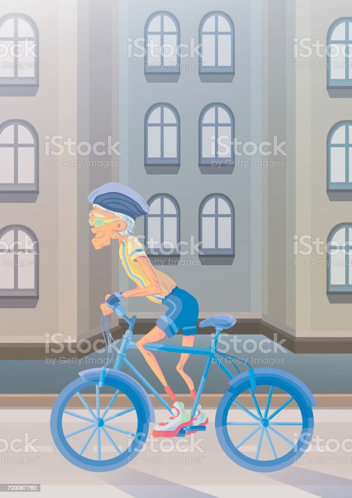 An elderly man riding a Bicycle on city street. Active lifestyle and sport activities in old age. Vector illustration. vector art illustration