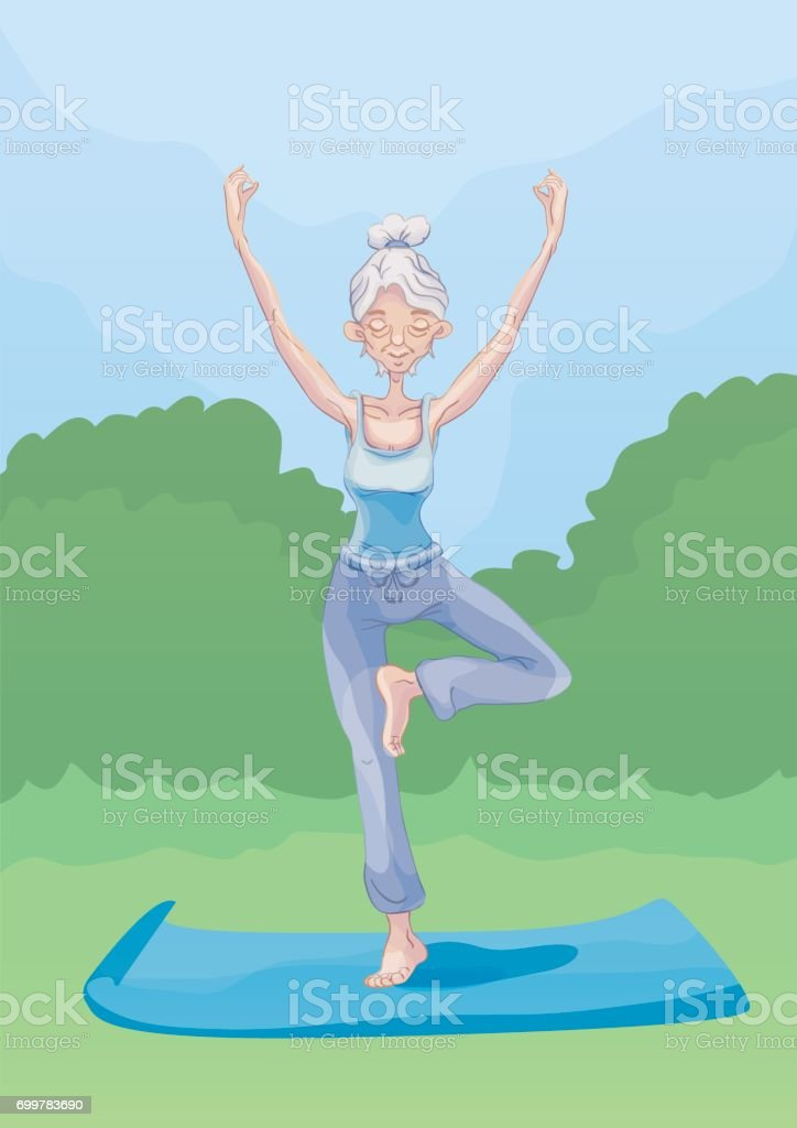 An elderly woman practice yoga outdoors, standing on one leg. Active lifestyle and sport activities in old age. Vector illustration. vector art illustration