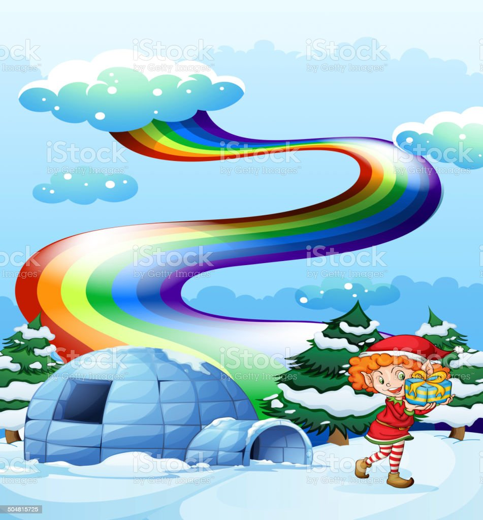 An elf near the igloo with rainbow in the sky royalty-free stock vector art