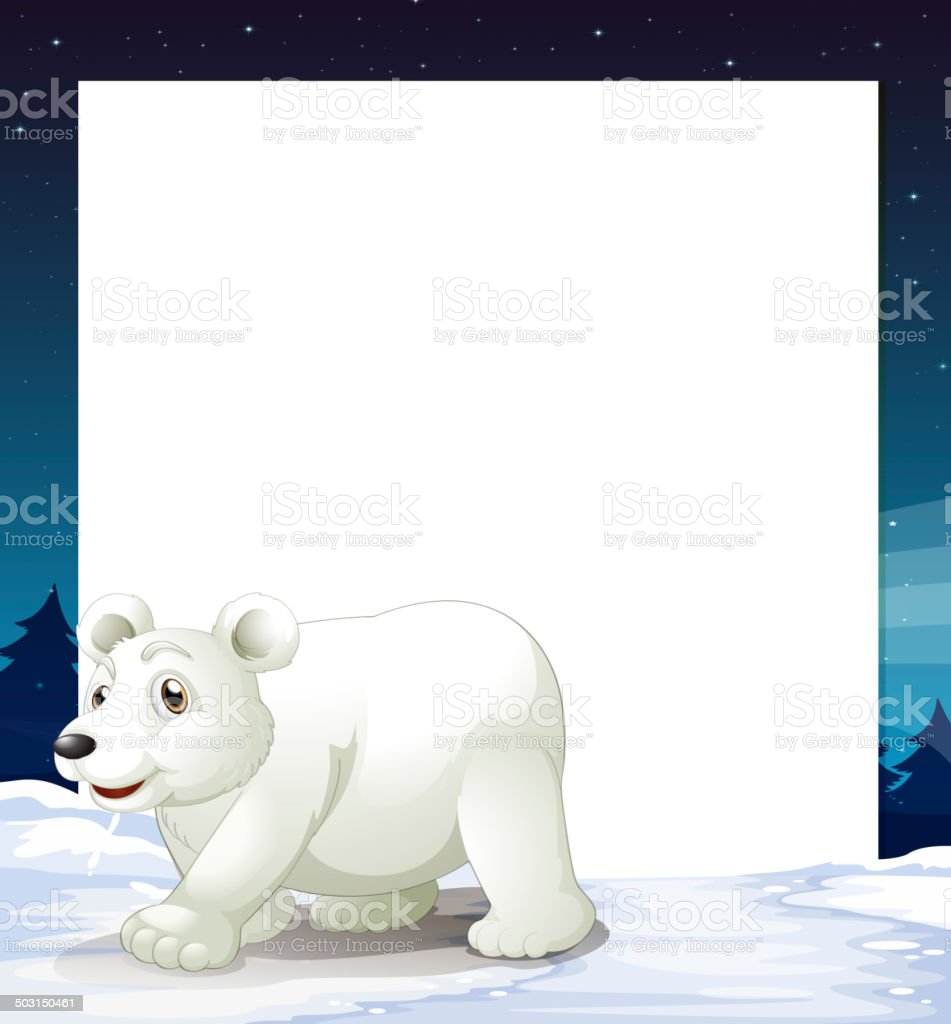 An empty template with a polar bear royalty-free stock vector art