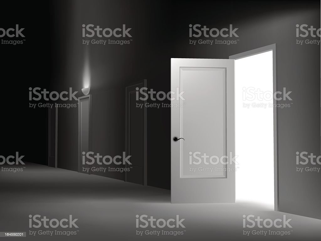 An empty white room with one open door vector art illustration
