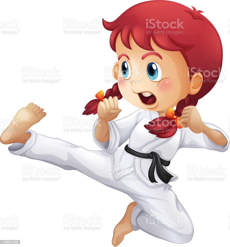 An energetic little girl doing karate vector art illustration