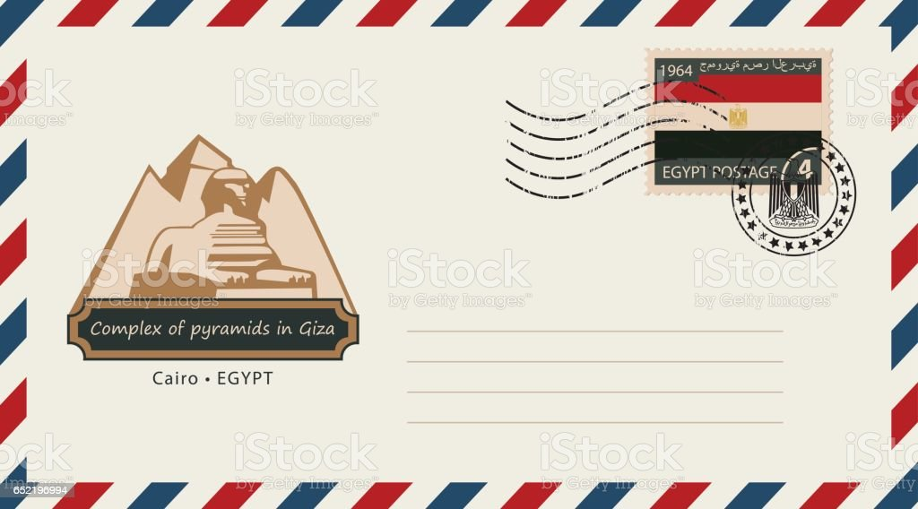 an envelope with a postage stamp with Egypt pyramids vector art illustration
