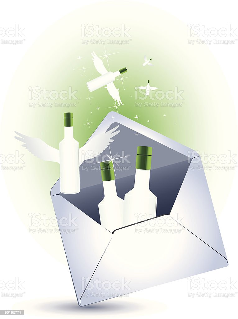 An envelope with bottles royalty-free stock vector art