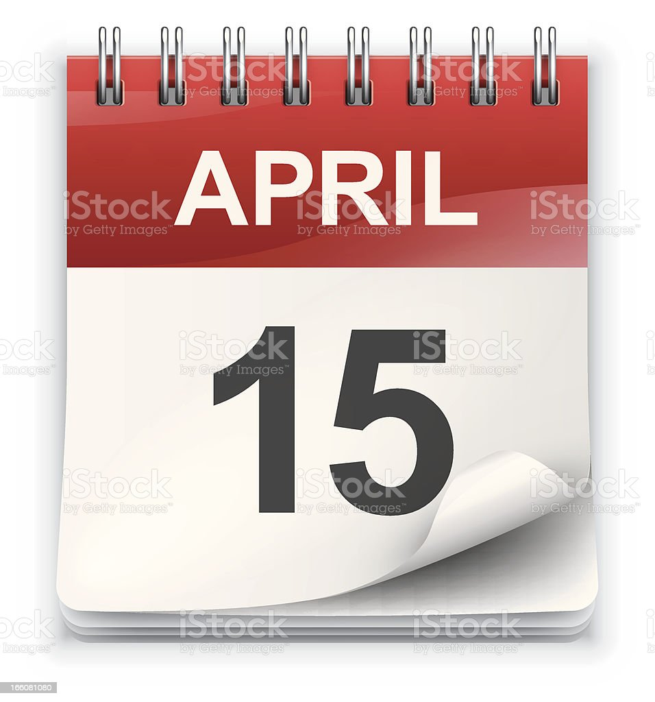 An icon of a calendar showing April 15  royalty-free stock vector art