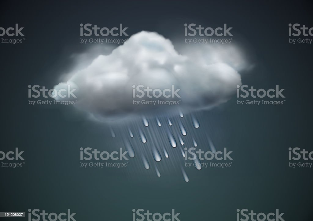 An icon of a raining, grey cloud against a grey background vector art illustration