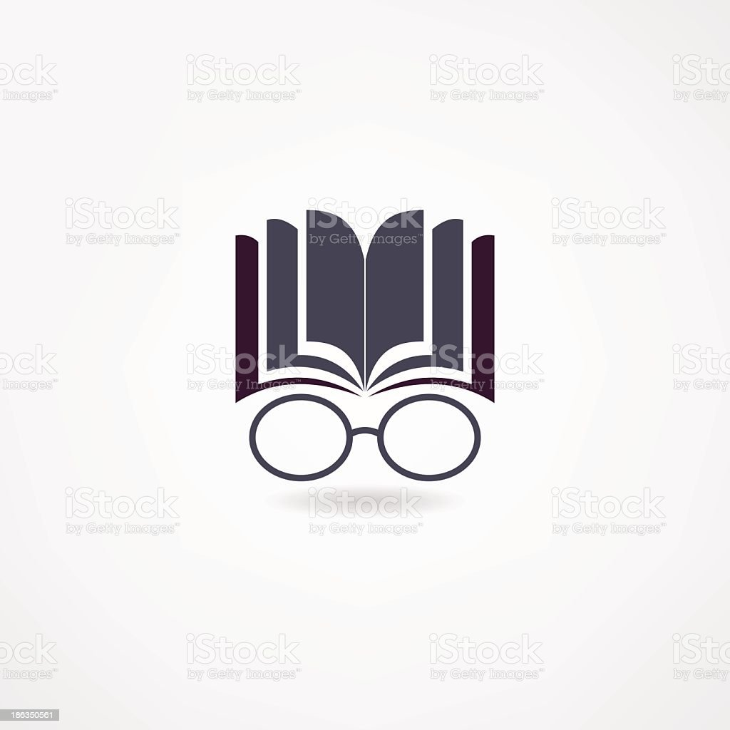 An icon of an open book with glasses under it royalty-free stock vector art