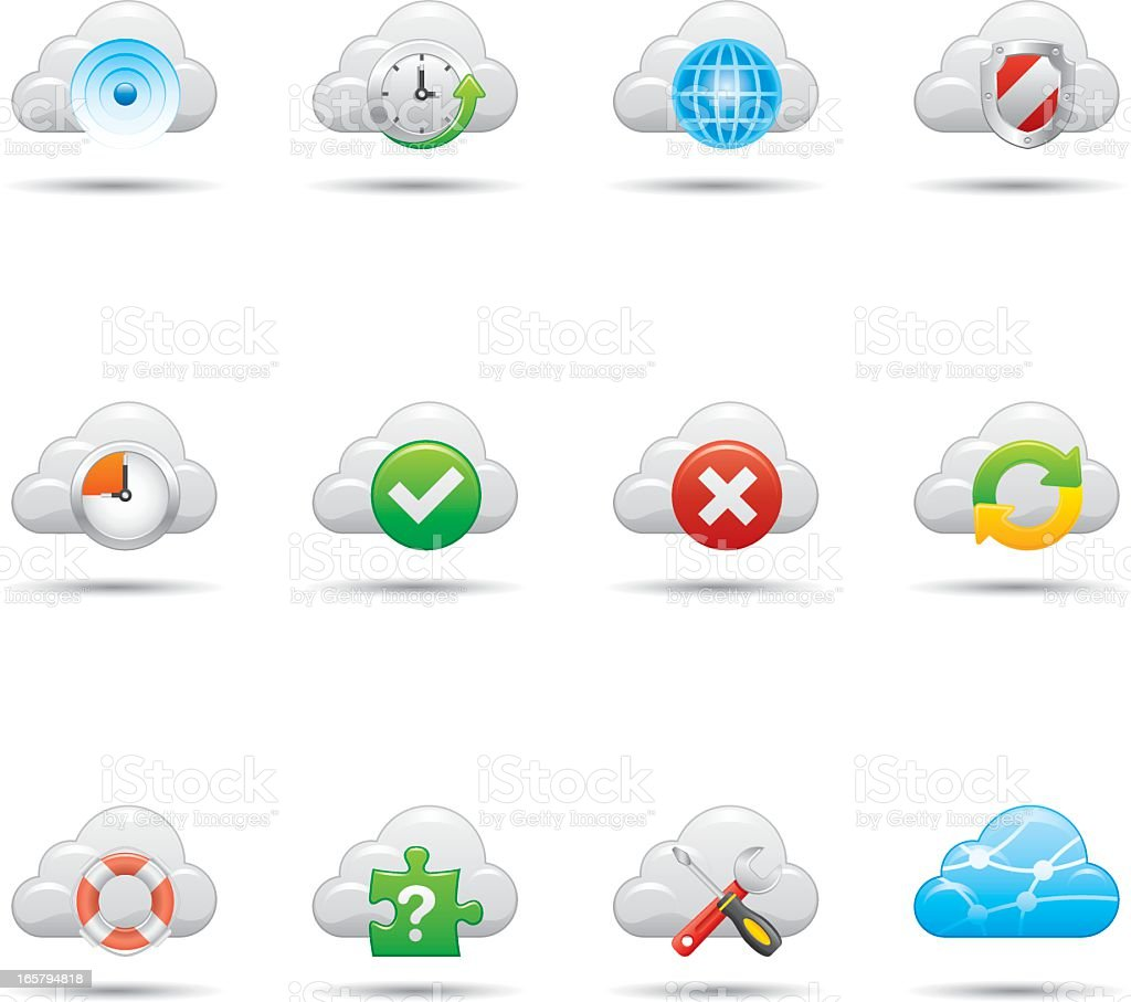 An icon set for a cloud network vector art illustration