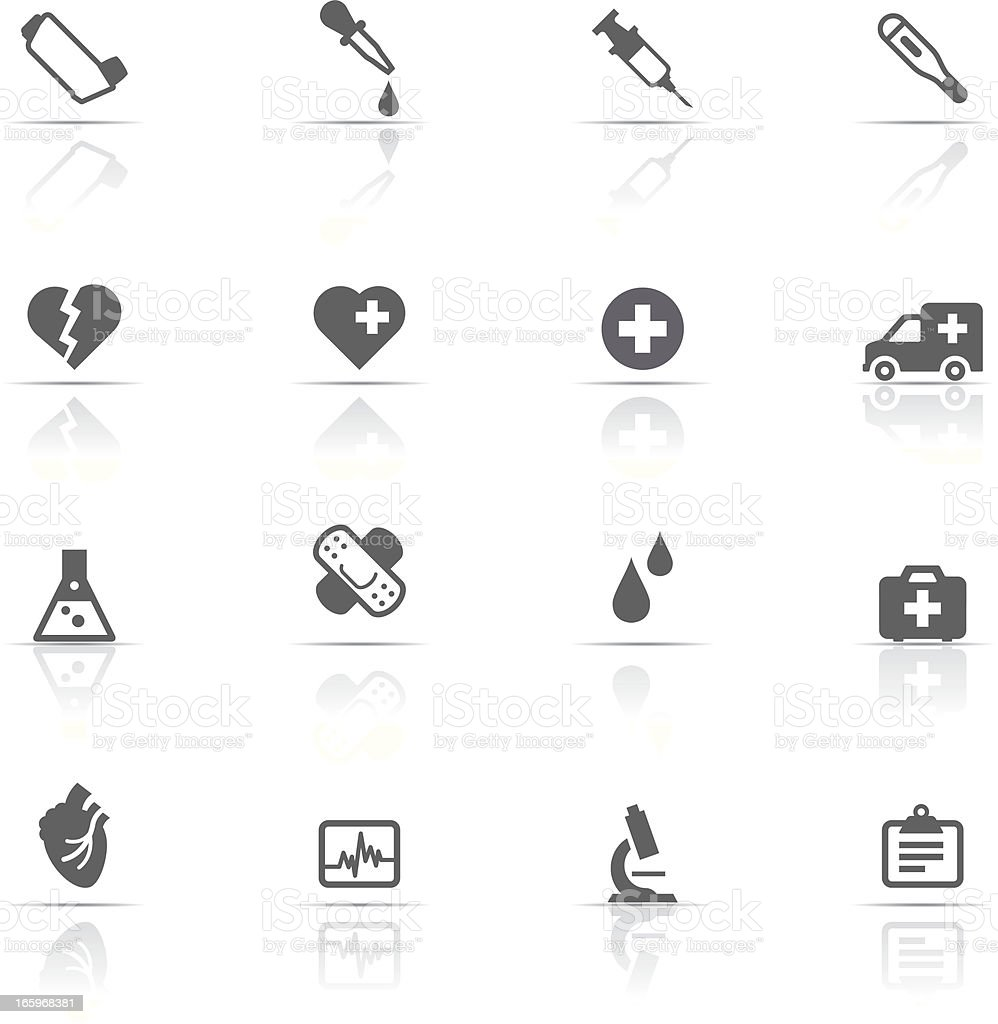 An icon set of medical related items vector art illustration