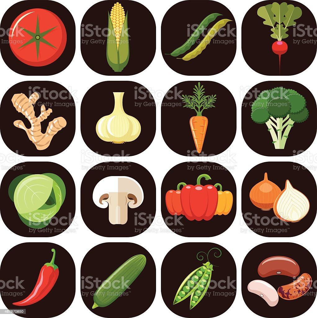 An icon set of vegetables on square buttons vector art illustration