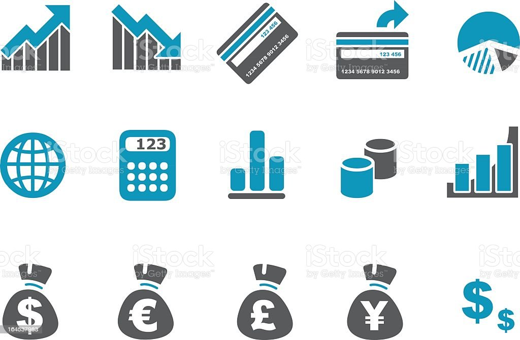 An icon set related to finances and currencies vector art illustration