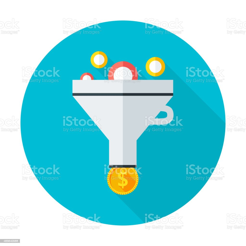 An icon showing a poker chips falling into a funnel vector art illustration