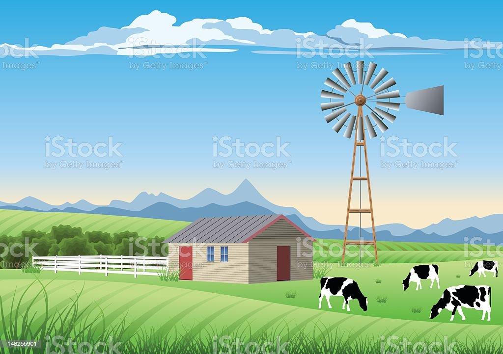 An ideal farm scene and a windmill vector art illustration