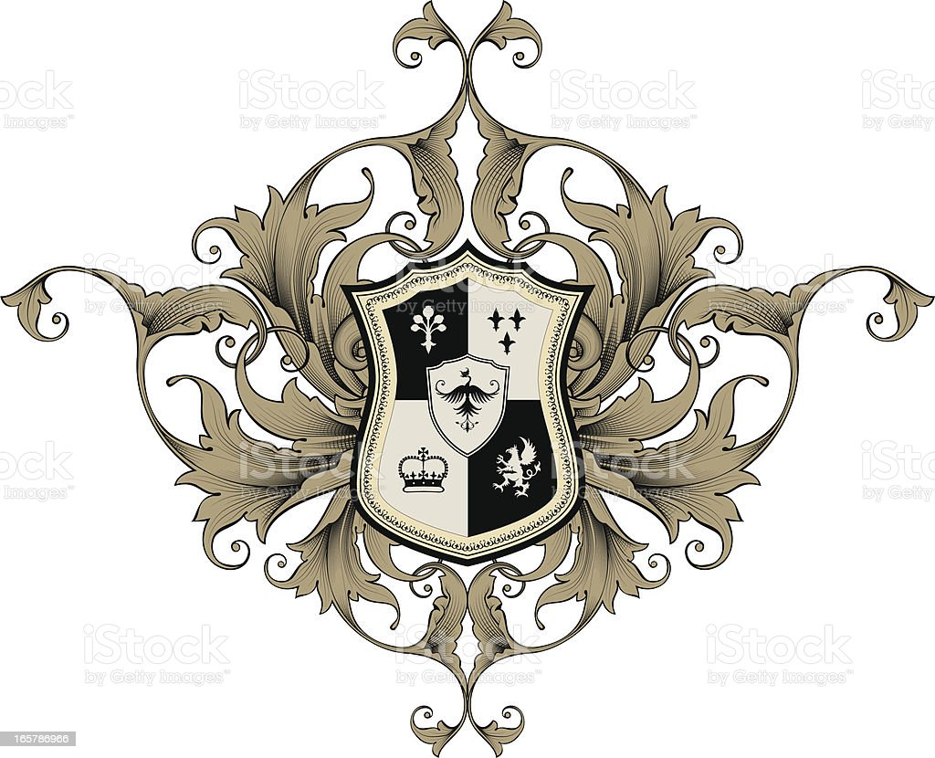 An illustrated coat of arms in Black and Tan vector art illustration