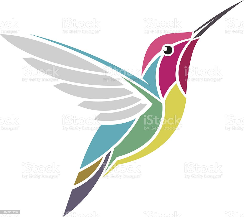 An illustrated picture of a multicolored hummingbird vector art illustration