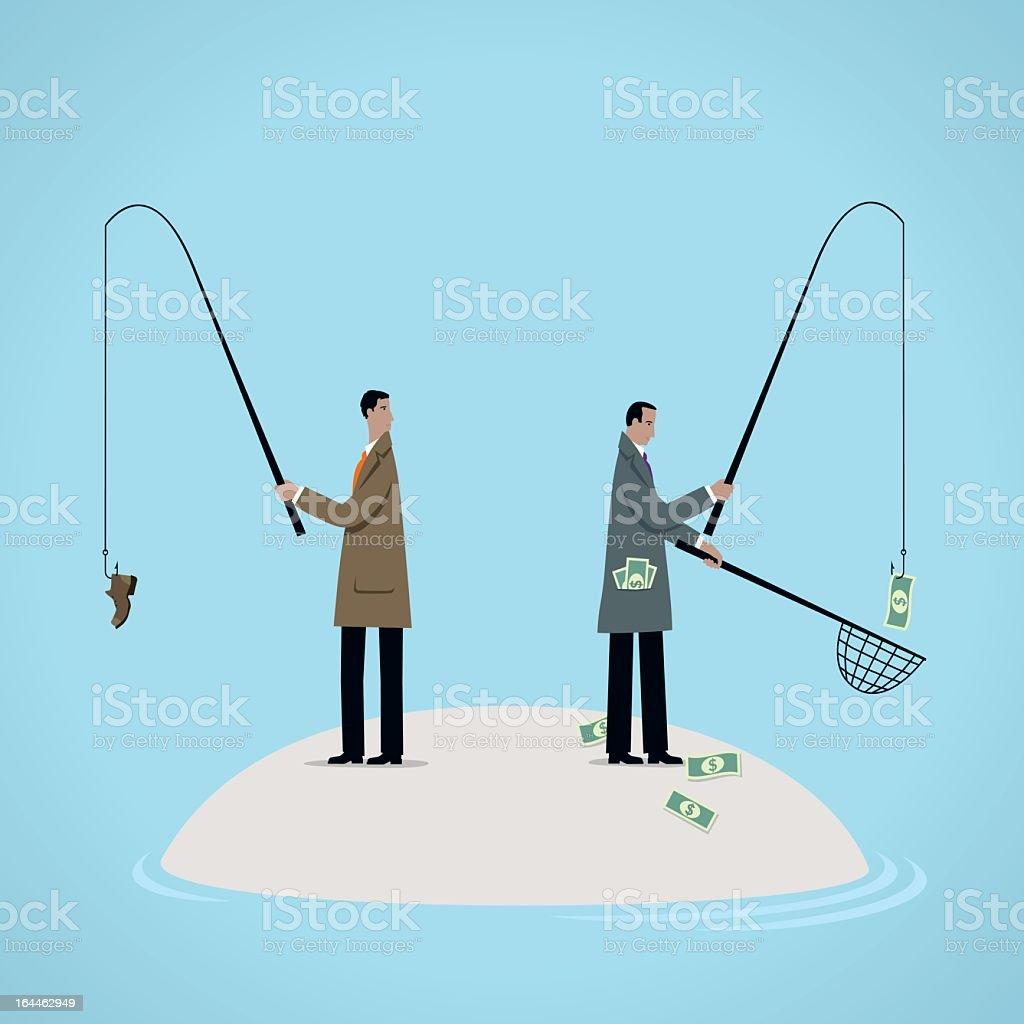 An illustration concept of fishing for dollars vector art illustration