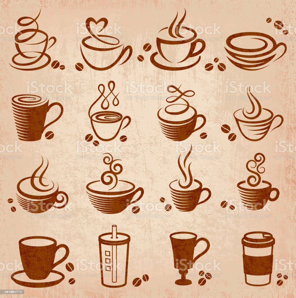 An illustration design of a coffee grunge icons vector art illustration