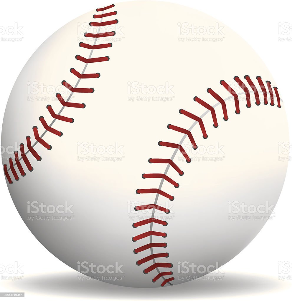 An illustration of a baseball with red stitching royalty-free stock vector art