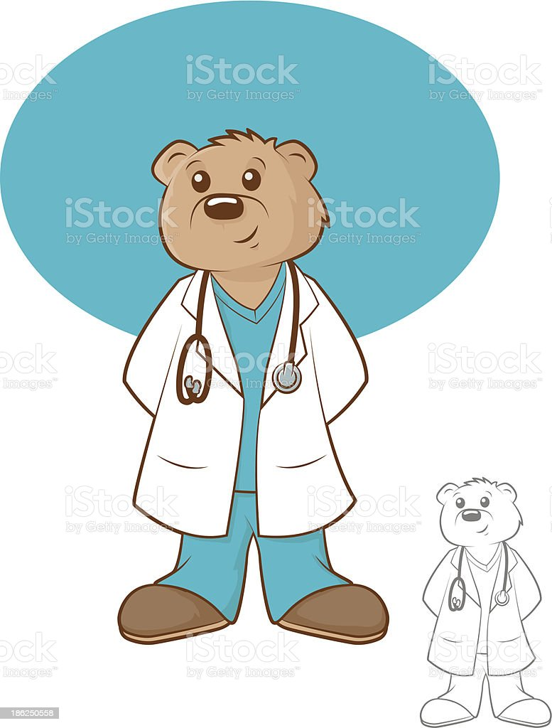 An illustration of a bear in a doctors coat and stethoscope royalty-free stock vector art