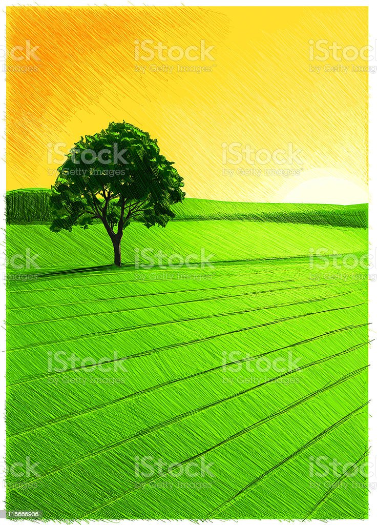 An illustration of a beautiful natural landscape royalty-free stock vector art