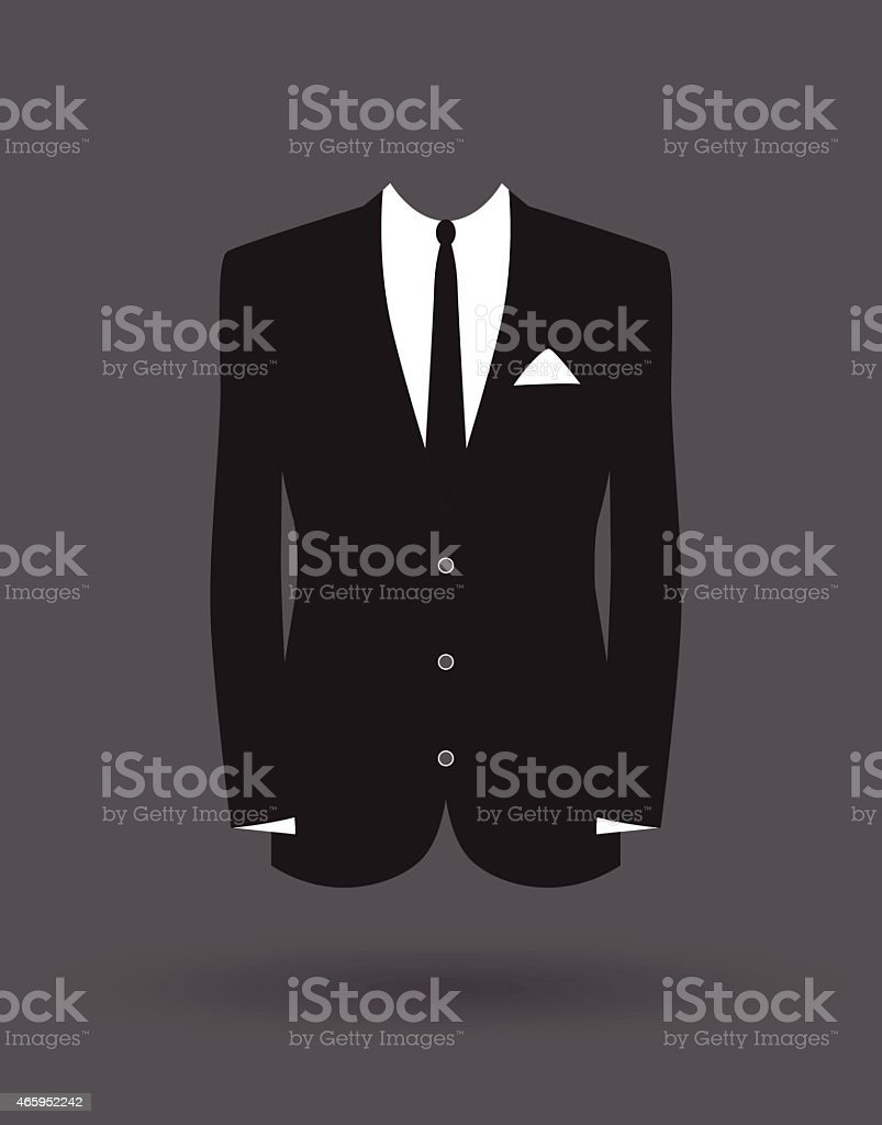 An illustration of a black suit jacket and white shirt vector art illustration