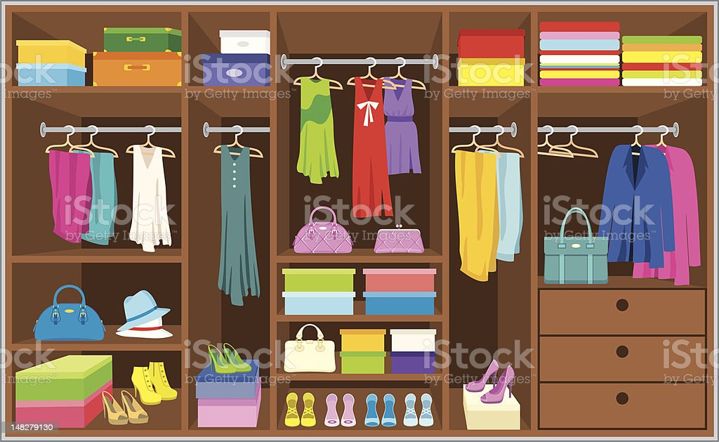 An illustration of a brown cabinet with colorful outfit royalty-free stock vector art