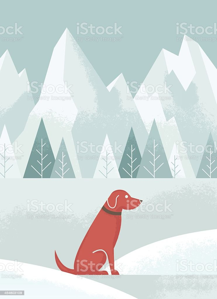 An illustration of a brown dog in the snow vector art illustration