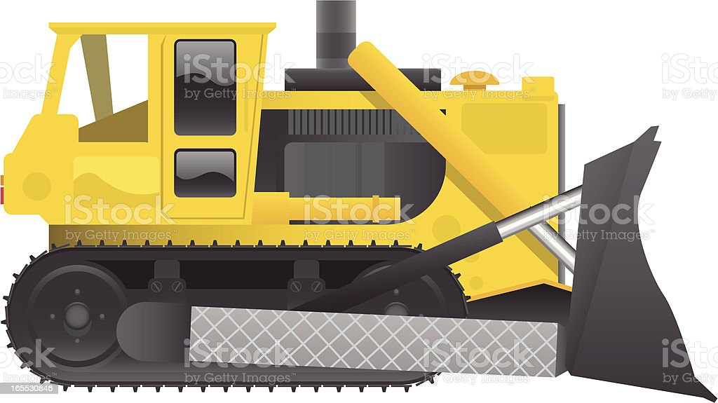 An illustration of a bulldozer on a white background vector art illustration