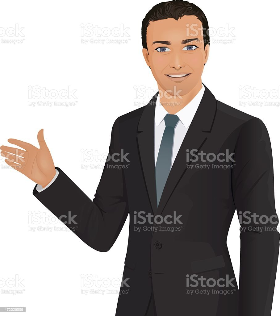 An illustration of a business man doing a presentation royalty-free stock vector art