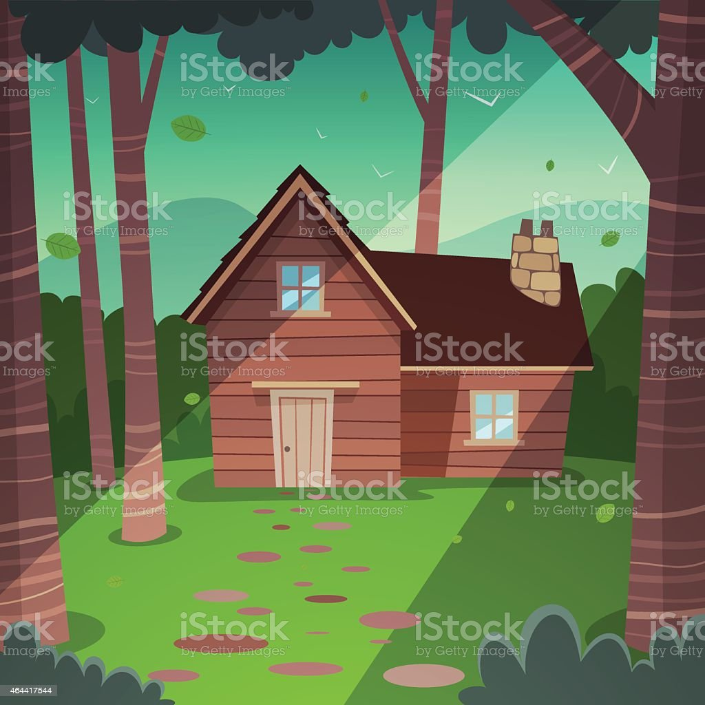 An illustration of a cabin in the woods vector art illustration