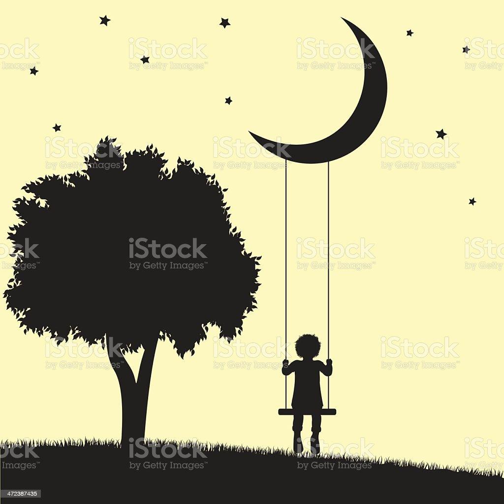 An illustration of a child swinging on the moon vector art illustration