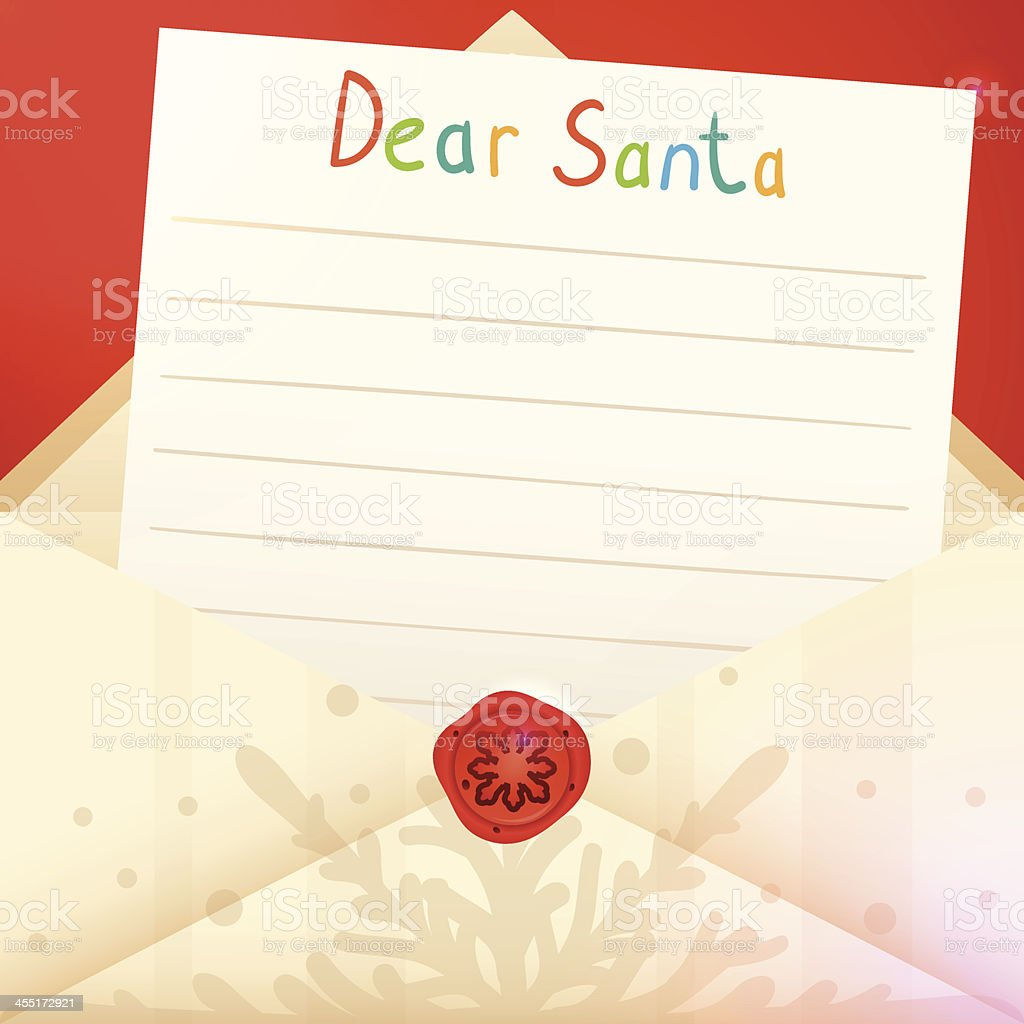 An illustration of a Christmas letter to Santa Claus vector art illustration
